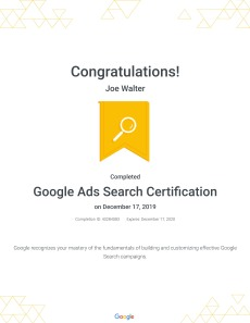 Google Ads Search Certification : Google