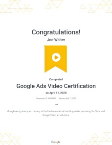 Google Ads Video Certification : Google